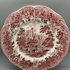 "J&G Meakin Romantic England Red 10"" Dinner Plate Derbyshire HADDON HALL"
