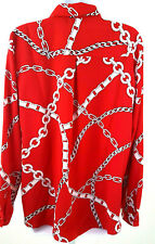 Susan Graver Red Chain Link Blouse Size 6