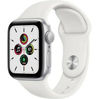 New Apple Watch SE GPS 40mm Silver Aluminum Case White Sport Band Wi-Fi Smart