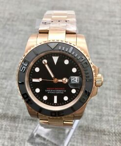 40mm Black dial automatic Mechanical mens watch luxury rose gold Wrist watches