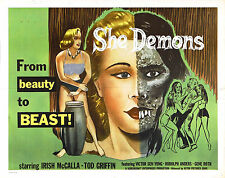 Incorniciato Retrò MOVIE POSTER -- She Demon 1958 (replica stampa HORROR CINEMA FILM)