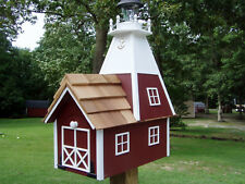 Amish Rural Red Mailbox Solar Lighthouse Handmade Homemade Handcrafted