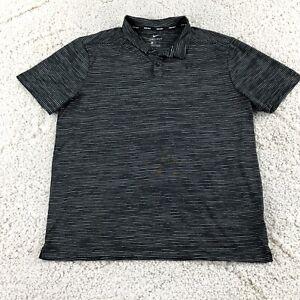 Nike TW Tiger Woods Golf Dri Fit Striped Polo 932196 010 Black Men's Large