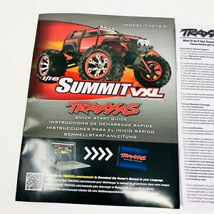 Traxxas Summit 1/16 VXL Model 72076-3 Quick Start Guide Manual Pack New