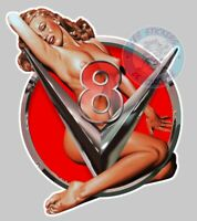 STICKER PINUP V8 USA BIG BLOCK HOT ROD PIN UP AUTOCOLLANT AUTO PA091