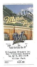 Milwaukee Brewers San Francisco Giants 4/16/2013 Ticket Stub Grand Slam L@@K