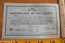 Marineland of the Pacific admission ticket discount 1960's-70's dolphin