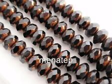 25 6 x 9 mm Czech Glass Gemstone Donut Beads: Bronze - Jet