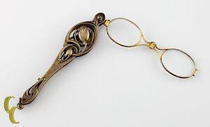 Sterling Silver Antique Ornate Lorgnette Spring-Loaded Glasses All Original