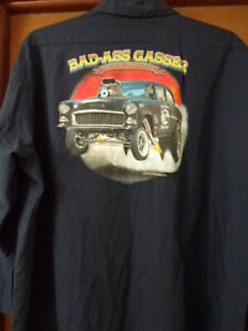 1955 Chevy Gasser Mechanic~Shop Shirt Size:XXL Used/Recycled Two Lane Blacktop