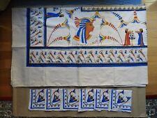 "VINTAGE EGYPTIAN TABLECLOTH (56"" X 96"") WITH 6 NAPKINS (15"" X 15"")"