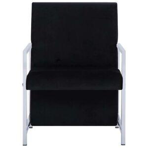 vidaXL Velvet Armchair Fabric Upholstered Accent Chair w/ Chrome Metal Feet Legs