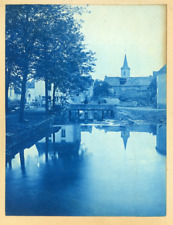 France, Ville à identifier Vintage print.  cyanotype  12x15  Circa 1880