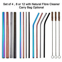 Reusable Straws - Stainless Steel Metal Straw Set With Natural Fibre Cleaner