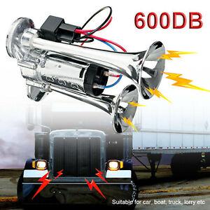 600DB 12V Dual Trumpet Car Air Horn w/Compressor Kit SUV RV Train Speaker