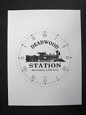 "(009) Clock Face Railroad Deadwood Dakota Station Steam Engine Train 6.5"" Dial"