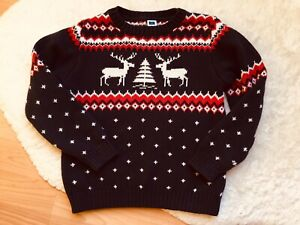 Janie And Jack Boys Navy Blue Red White Knit Fair Isle Moose Sweater Sz 5