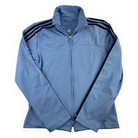 Adidas Jacket Women Medium Blue Black Track Coat Windbreaker Full Zip Ladies