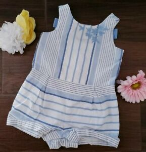 Janie and Jack Baby Girl Size 3-6M Romper White Blue Striped Embroidered