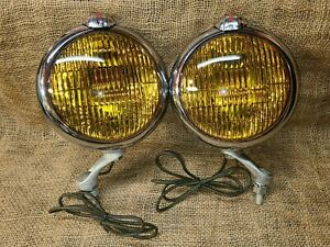 Vintage Original UNITY Accessory FOG LIGHTS Lamps gm ford chevy working nice