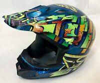 2012 RARE Fly Racing Kinetic Series Green Blue Motorcycle Snowmobile Helmet M