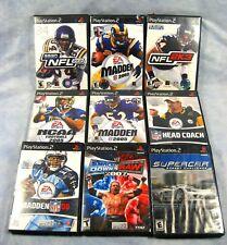 (9) PLAYSTATION 2 Sports Video Games Madden NFL, NCAA, WWE, Racing
