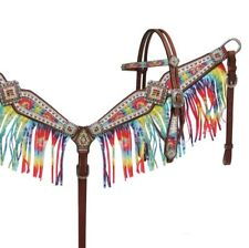 Rainbow Tye Dye Crystals Leather Bridle Headstall Fringe Breast Collar Med Oil