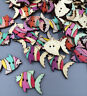 50pcs Retro Wooden-Buttons-2-Holes-Fit-Sewing-and-Scrapbook fish Crafts 27mm
