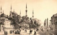 Istanbul, HIPPODROME SULTAN AHMET BLUE MOSQUE ~ Antique Architecture Art Print