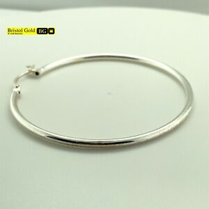 BRAND NEW Fully Hallmarked 925 Sterling Silver Medium Hoop Earrings - FREE P&P