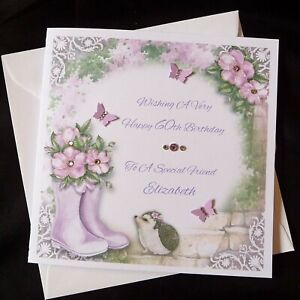 PERSONALISED Handmade BIRTHDAY Card Garden Hedgehog - ANY AGE  (2528)