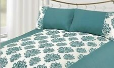 EJ Home Single Duvet Quilt Cover White & Teal Velvet Damask Floral Bedding Set