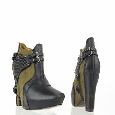 Sam Edelman Zoe 2 Women's Green Black Suede Leather Harness Booties Sz 6 M NEW!