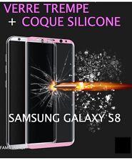 Film verre trempé rose intégral incurvé samsung galaxy S8  + Coque silicone