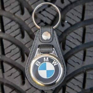 BMW Black Leather Style Keyring  with Trolley Coin/Token (1038T)