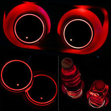 Cool! Car Solar Cup Holder Bottom Pad LED Light Cover Trim Atmosphere Lamp Red