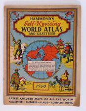 VINTAGE HAMMONDS 1940 SELF REVISING WORLD ATLAS AND GAZETTEER COLOR MAPS INDEX