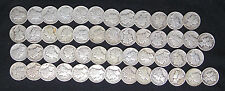 1928 S MERCURY DIMES VERY GOOD VG - VERY FINE VF FULL ROLL 50 SILVER COINS