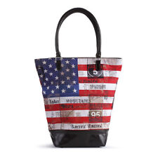 "STARS & STRIPES USA Flag 16"" BOX style TOTE BAG Shopper American Backroads New"
