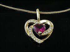 585 Goldkette mit Herz Anhänger in Größe 14 mm x 12 mm mit Rubin und Zirkonia