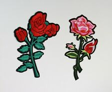 Sew on /& iron on embroidery patches Tall Rose-purple