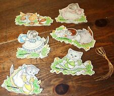 1984 MERRIMACK KITTY CUCUMBER CAT  Die Cut 2 Sided Christmas Ornaments New