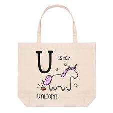 LETTERA U è per Unicorn GRANDE BORSA CON MANICO da Spiaggia - Alfabeto