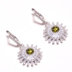 """Peridot & White Topaz Gemstone 925 Sterling Silver Jewelry Earring 1.56"""" S2629"""