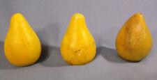 Antique Vintage 3 Carved Alabaster Stone Fruit Pears