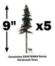 "FIVE GREAT Model Fir Trees, 9"" Tall, Handmade, Craftsman, HO-N-O-S, FREE SHIP"