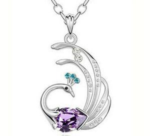 Hot Sale Women Jewelry Purple Crystal Zircon Peacock Pendant Necklace Chain