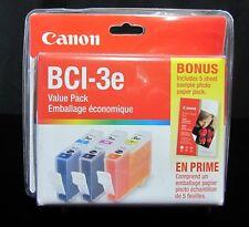 Genuine Canon Ink BCI-3e Value Pack 3 Colour Ink Cartridges bonus 5 Photo Papers