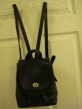 COACH Vintage Turn Lock Mini Backpack Hand Bag Leather Black Purse