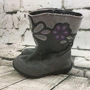 Stride Rite Lilianna Toddler Boots Sz 6M Gray Purple Warm Winter